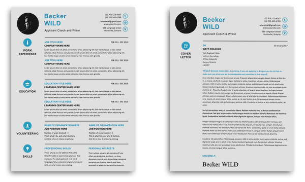 top view of two pages of resume and overviews