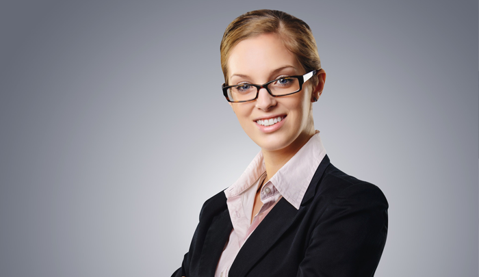 woman in business suit looking straight ahead