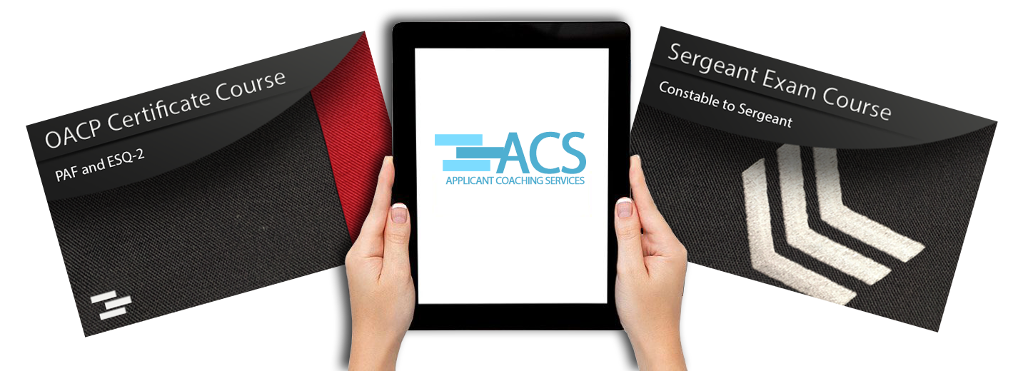 hands holding an ipad with ACS on the screen